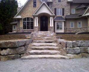 stairs, retaining wall